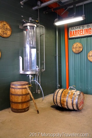 Putting the distilled moonshine into a barrel for aging