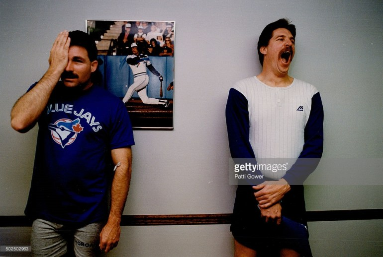 Moment of truth. Jack Morris and Dave Stieb share a cubicle for an eye examination during medicals at dunedin. seconds later; the former enemies stared hard at each other; then began to chuckle.