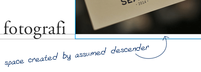 Illustration of the descender space created underneath an img element when displayed as default (inline)