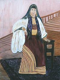 אשה לובשת את השמלה הגדולה