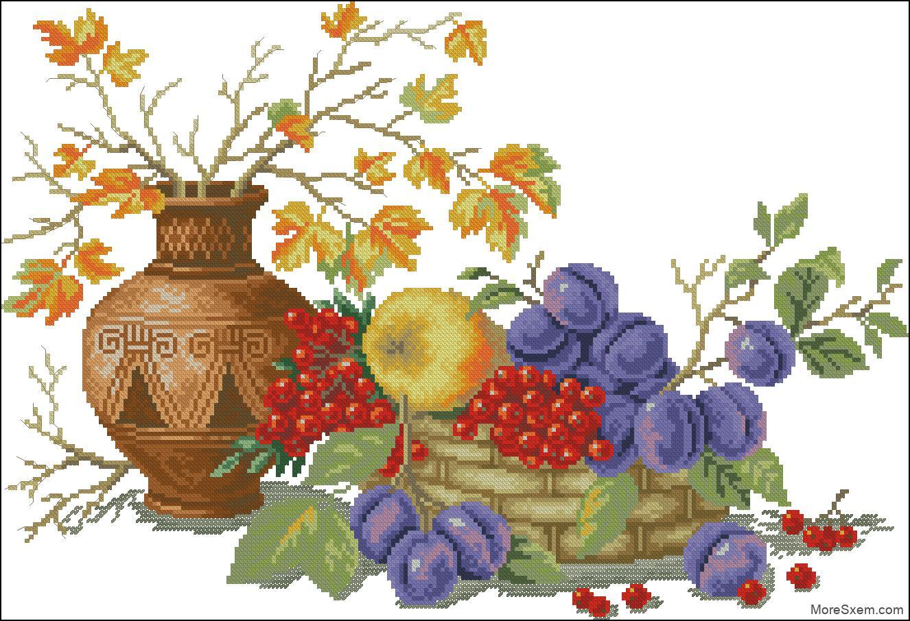Вышивка фрукты в вазах