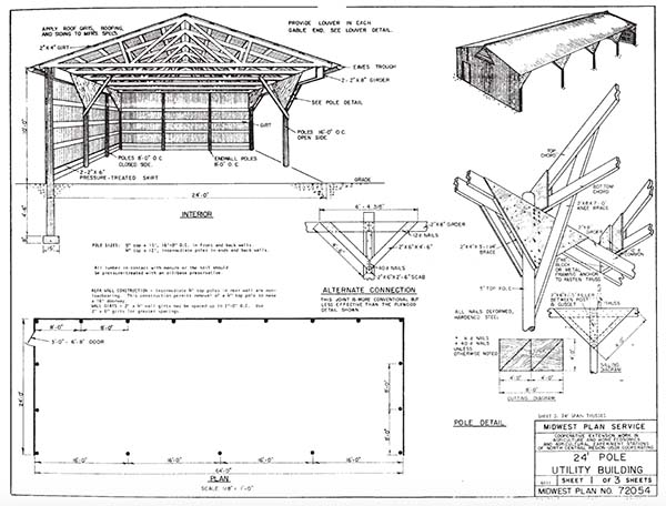 153 pole barn plans and designs that you can actually build for Barn style garage plans for free