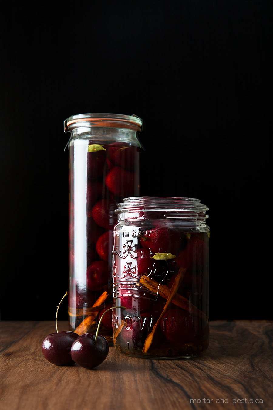 Spiced cocktail cherries recipe.