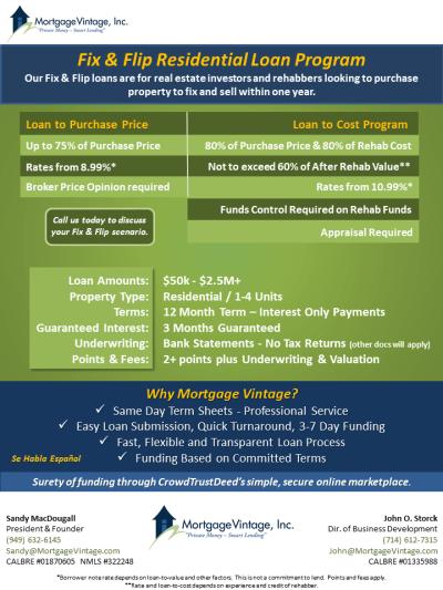 Fix and Flip Loan Program – Mortgage Vintage