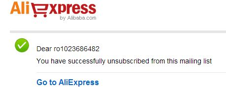 Aliexpress unsubscribe