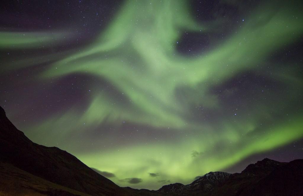 Aurora Borealis, Siglufjörður, North Iceland, 14mm. f/2.8 at 13s, ISO 1250.