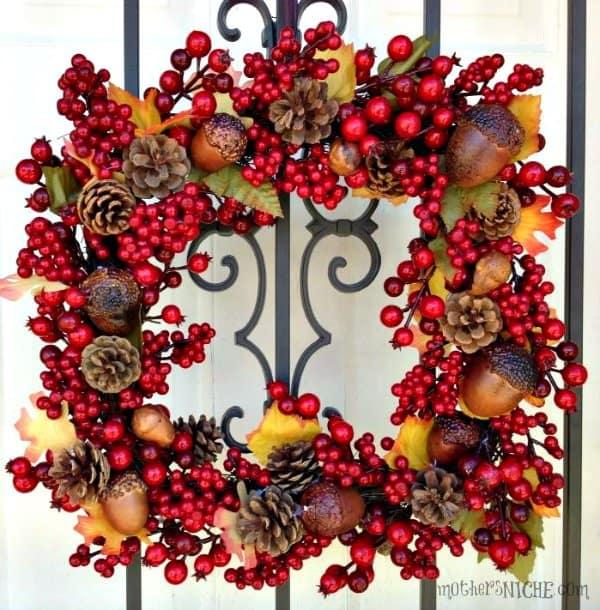 pine cone fall wreath