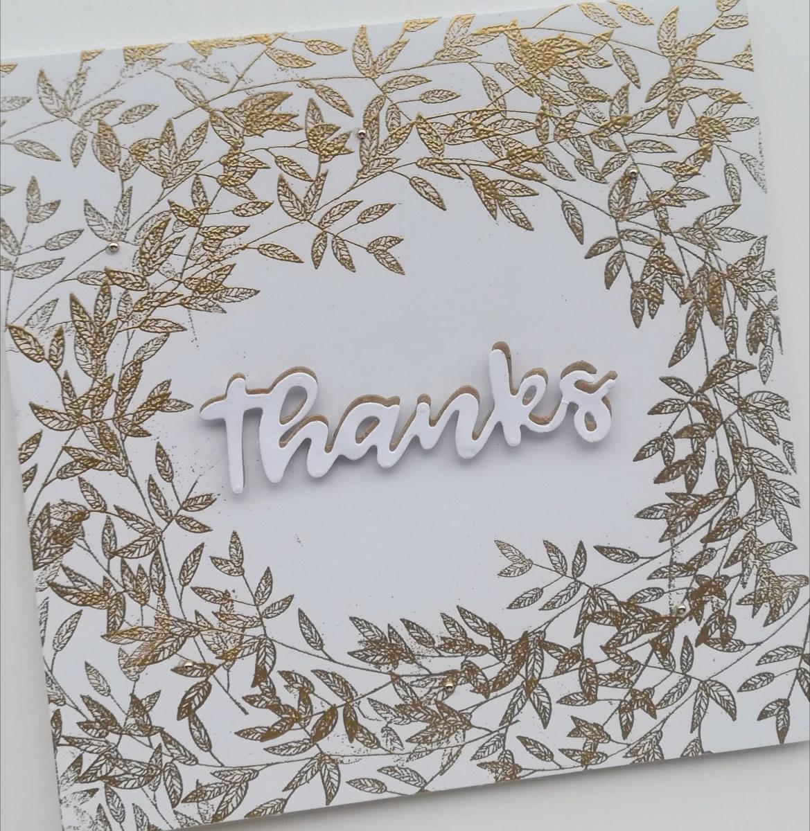 Carte de remerciements, faite main