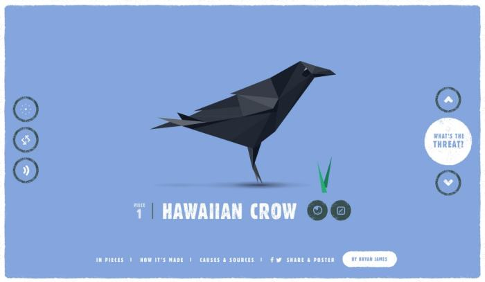 The Hawaiian Crow, the first of 30 animals