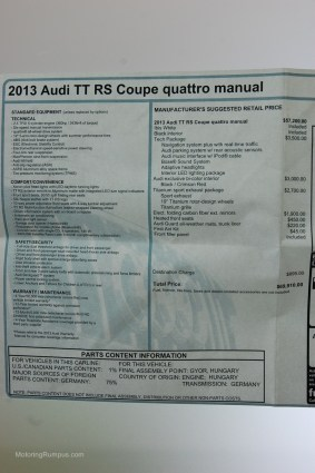 2013 Audi TT RS Window Sticker