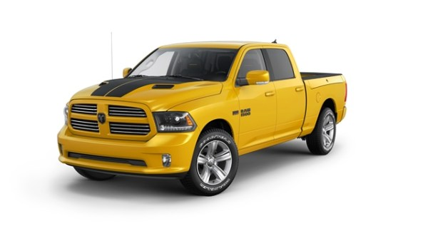 La versión Stinger Yellow de la Ram 1500 Sport es una edición especial que además de la pintura amarilla, trae aros de 20 o 22 pulgadas y tapicería especial. Foto: Ram