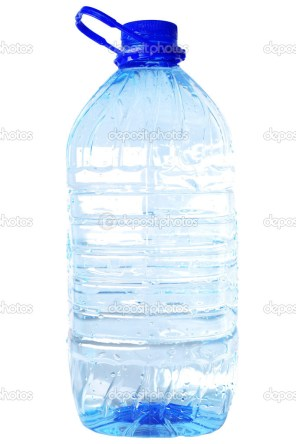 bottle of five liters clear water isolated on white