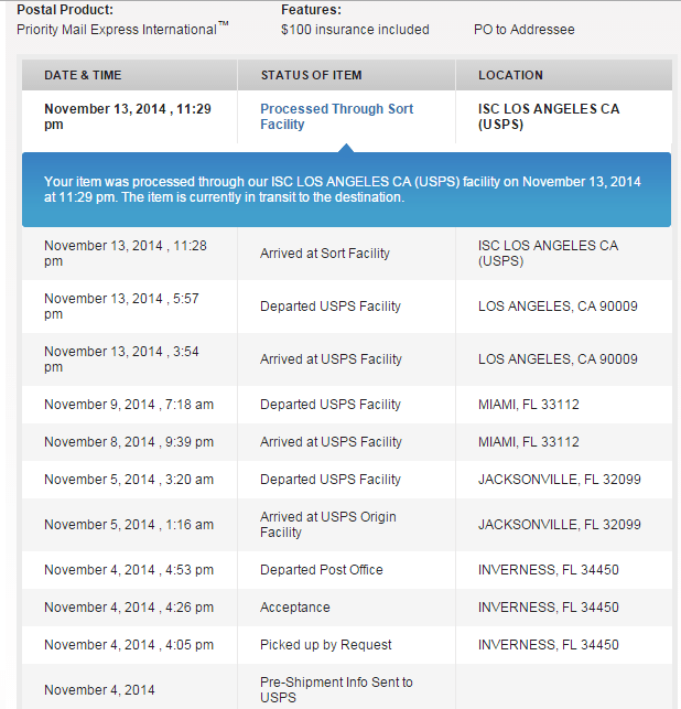 USPS Product Tracking Information - that doesn't seem to explain the delay