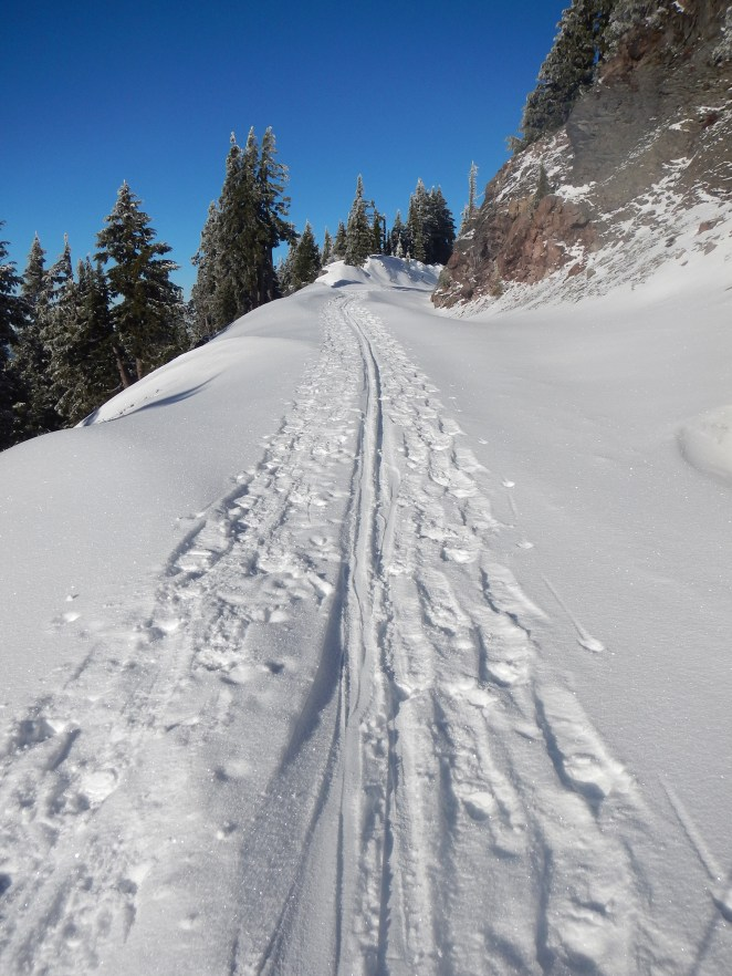 Near the parking lot, the skin track was sweet and fast.
