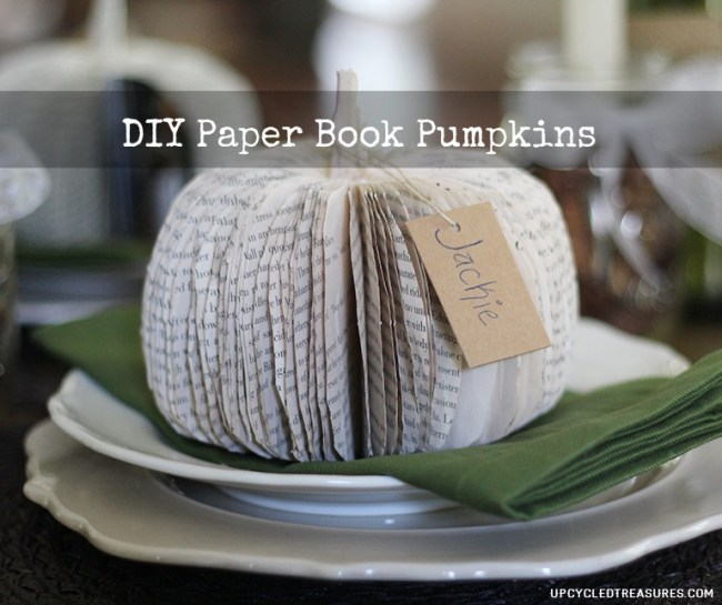 How to make DIY paper book pumpkins for a creative table place setting or to use as Halloween or Thanksgiving decor.