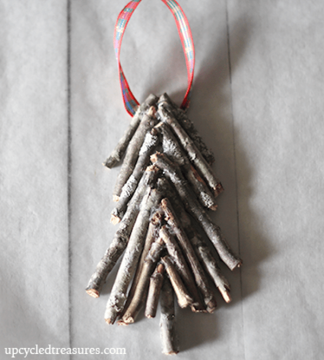DIY Twig Tree Christmas Ornament - Learn how easy it is to make your own handcrafted Twig Tree Christmas Ornament - Upcycled Treasures