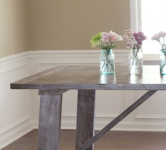 west elm wooden truss dining table knockoff using kreg jig mountainmodernlife.com