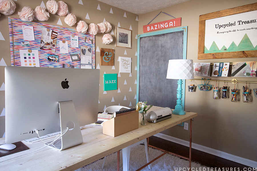 Creative workspace DIY giant chalkboard upcycledtreasures