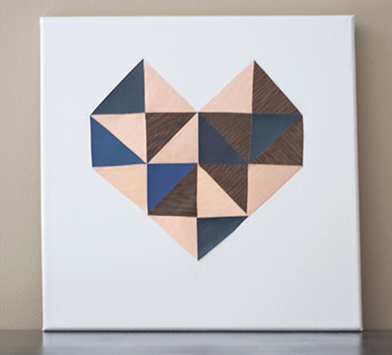 DIY geometric heart wall art using contact paper mountainmodernlife.com