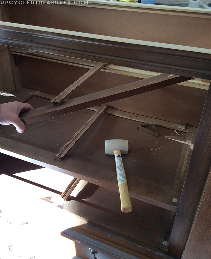 removing-drawer-slides-inside-armoire-upcycledtreasures