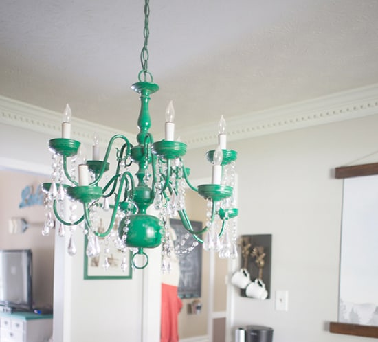Emerald upcycled chandelier in rustic modern dining room mountainmodernlife.com