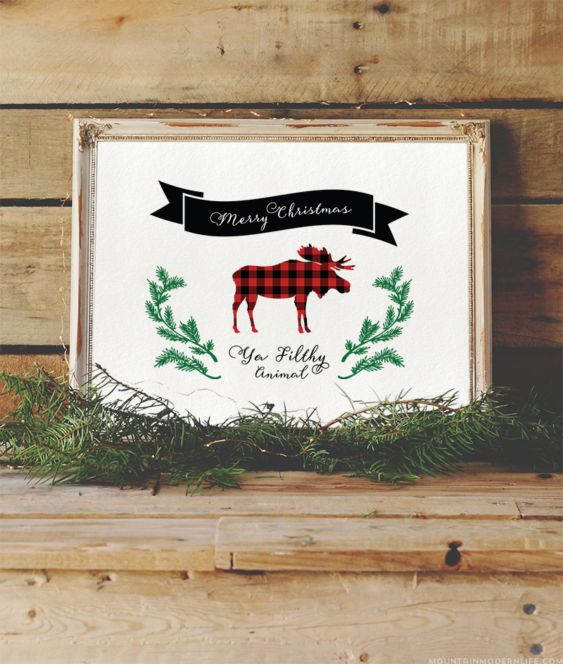 """Add some humor to your holiday decor or cards with this printable that says """"Merry Christmas Ya Filthy Animal Printable"""", a memorable quote from the movie Home Alone. MountainModernLife.com"""
