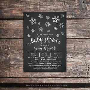 Add a rustic, wintery touch to your baby shower with these printable chalkboard baby shower invitations. MountainModernLife.com