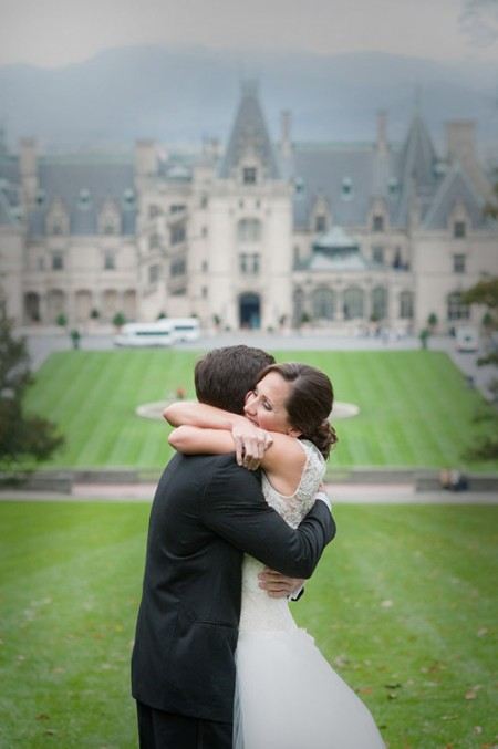 Bride and groom in front of Biltmore