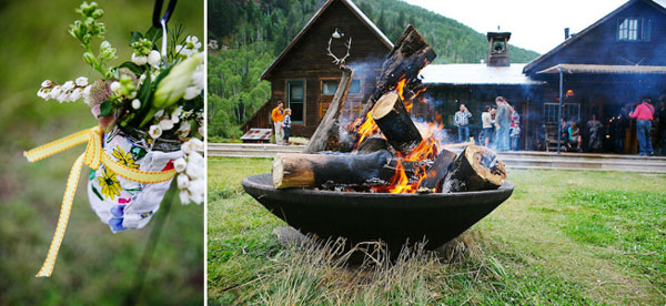 fire pit and wildflowers in mason jars