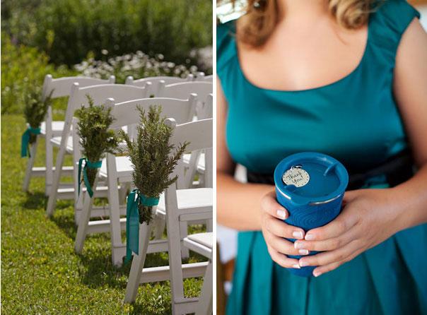 turquoise and pine wedding details