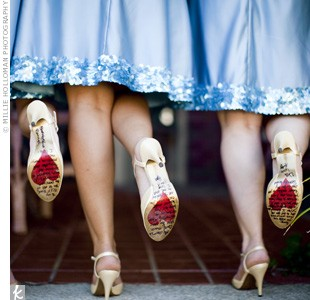hearts drawn on bottom of bridesmaids shoes