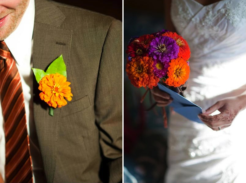 orange Gerber daisy boutonniere and bouquet