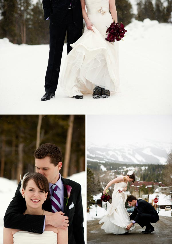 winter Colorado bride and groom