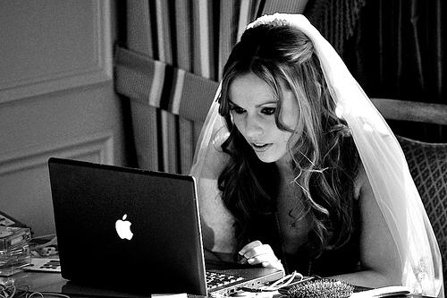 Bride at a computer