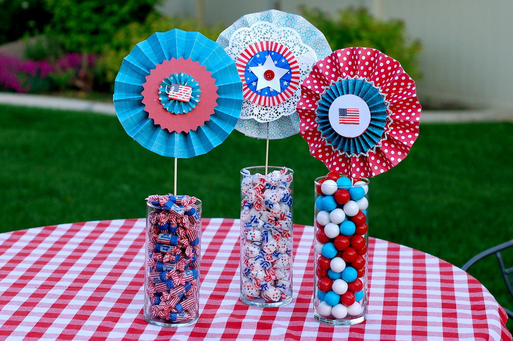red white and blue paper medallions