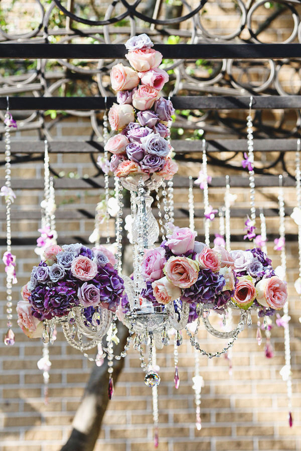 wedding chandelier covered with romantic roses