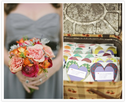 DIY mountain wedding flowers and handmade heart escort cards