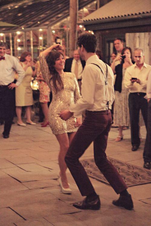 wedding guests having fun and dancing