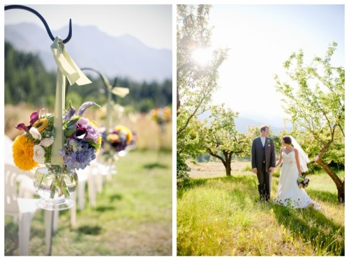 wild flower aisle runners and bride and groom portrait