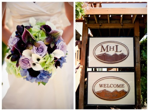 Purple and green wedding bouquet and wooden mountain home lodge