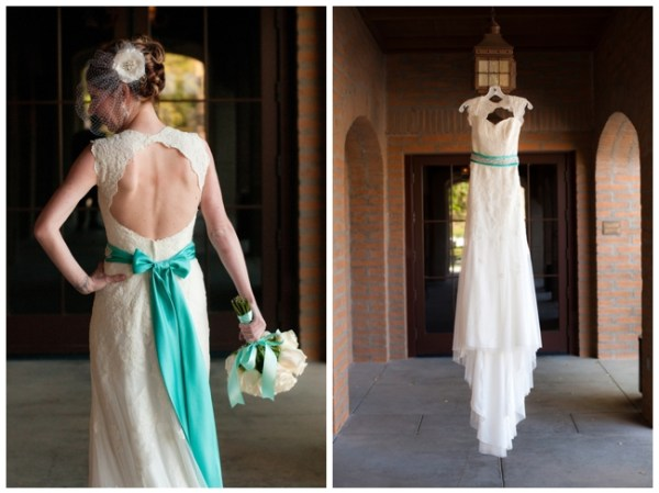 lace wedding dress with turquoise ribbon