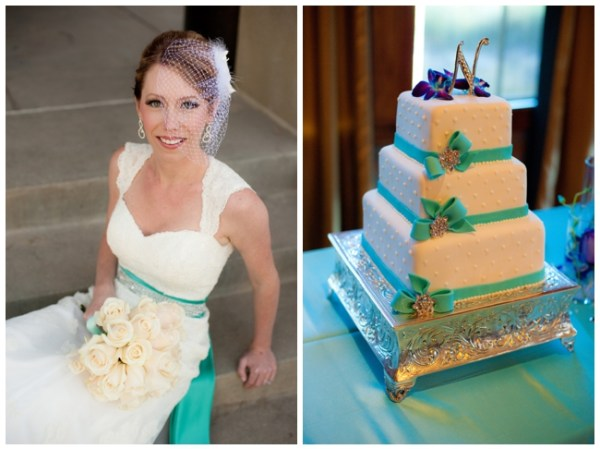 wedding cake with turquoise ribbon