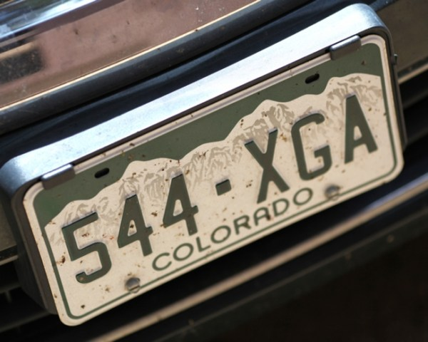 Colorado mountain license plate
