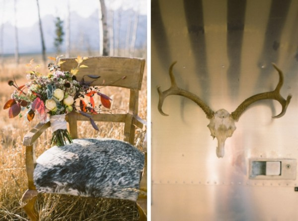 6-Jackson-Hole-wedding-inspiration-rustic-bouquet-anddeer-antlers