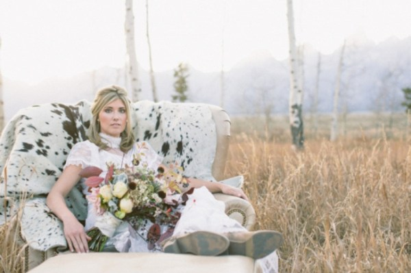 9-Jackson-Hole-wedding-inspiration-rustic-bride-with-cow-hide-chair