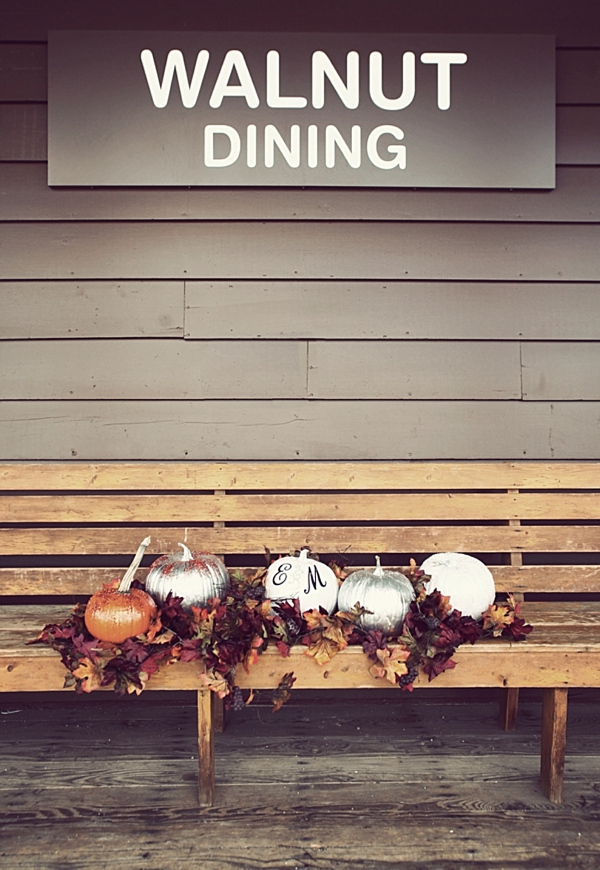 Walnut dining sign with pretty white painted pumpkins