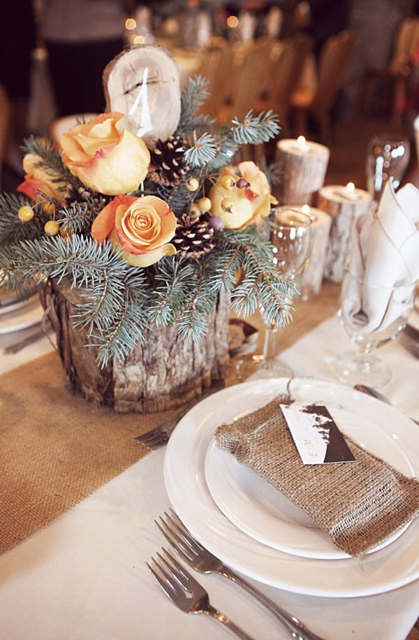 wood and burlap centerpieces