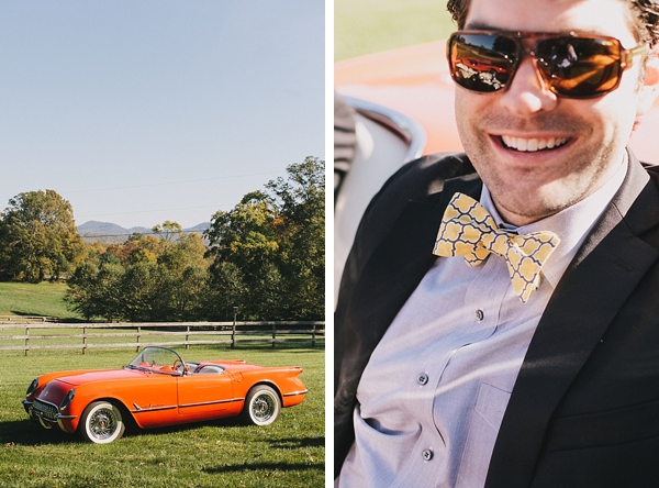 groom with vintage orange corvette