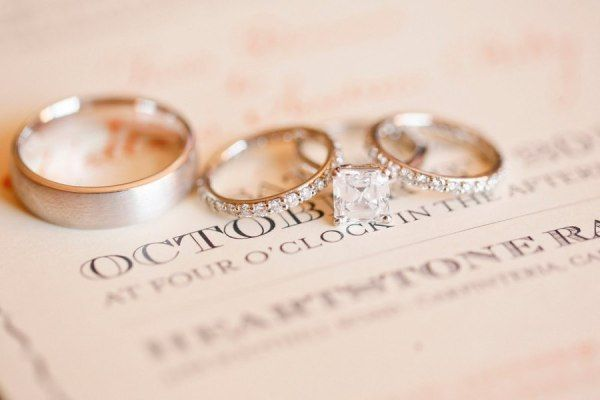 Wedding rings on a wedding invitation