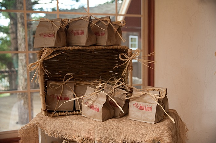 stamped paper bag favors | Colorado Wedding